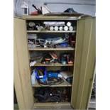 2-door cabinet c/w contents: welding rods, etc.(maint. shop, south basement)