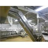approx. 12 in. x 14 ft. s/s frame drum feed incline belt conveyor, c/w cleated plastic belt (IATP