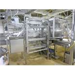 Foodcraft s/s leg processor, c/w 15 h.p. hydraulic power unit, & approx. 10 in. x 6 ft. s/s frame