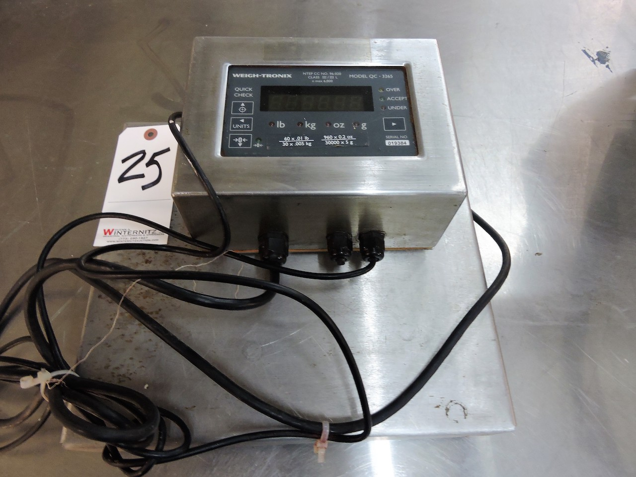 Lot 25 - WEIGHTRONIX SCALE MODEL QC 3265 CLASS III N MAX 6000,