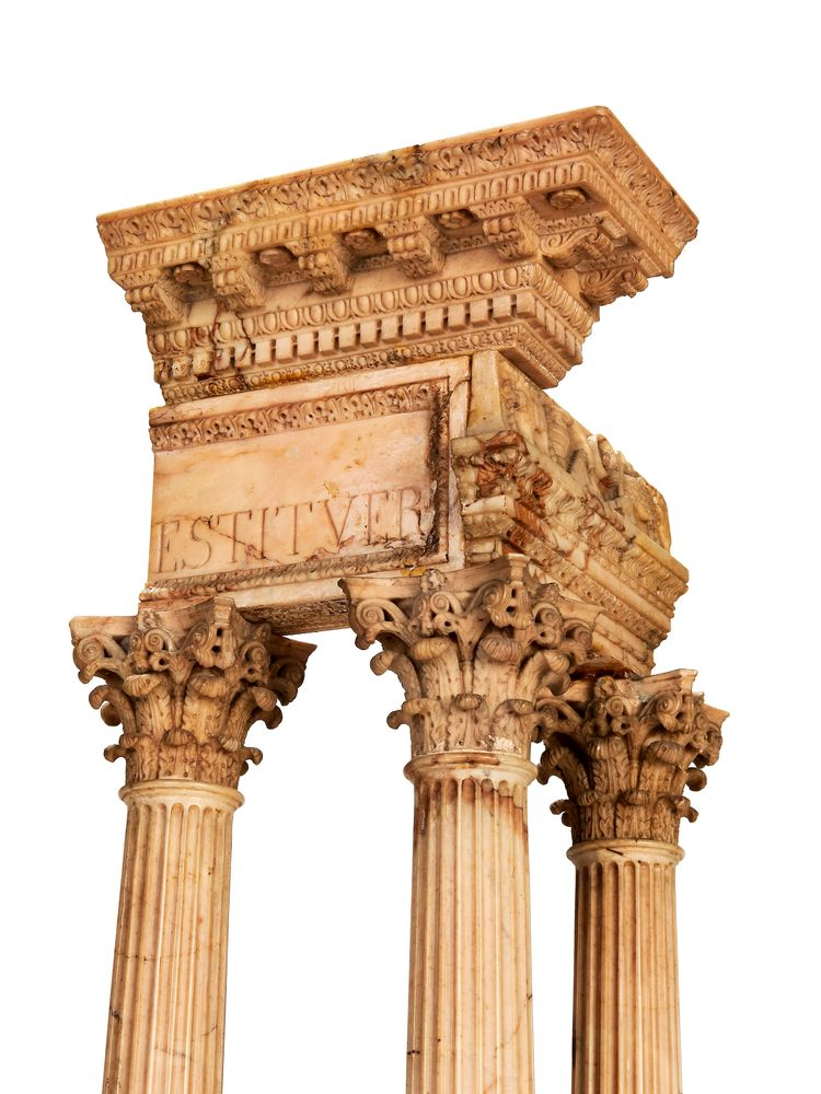 A pair of large Italian marmo giallo Grand Tour souvenir models of Temple of Castor and Pollux and t - Image 7 of 7