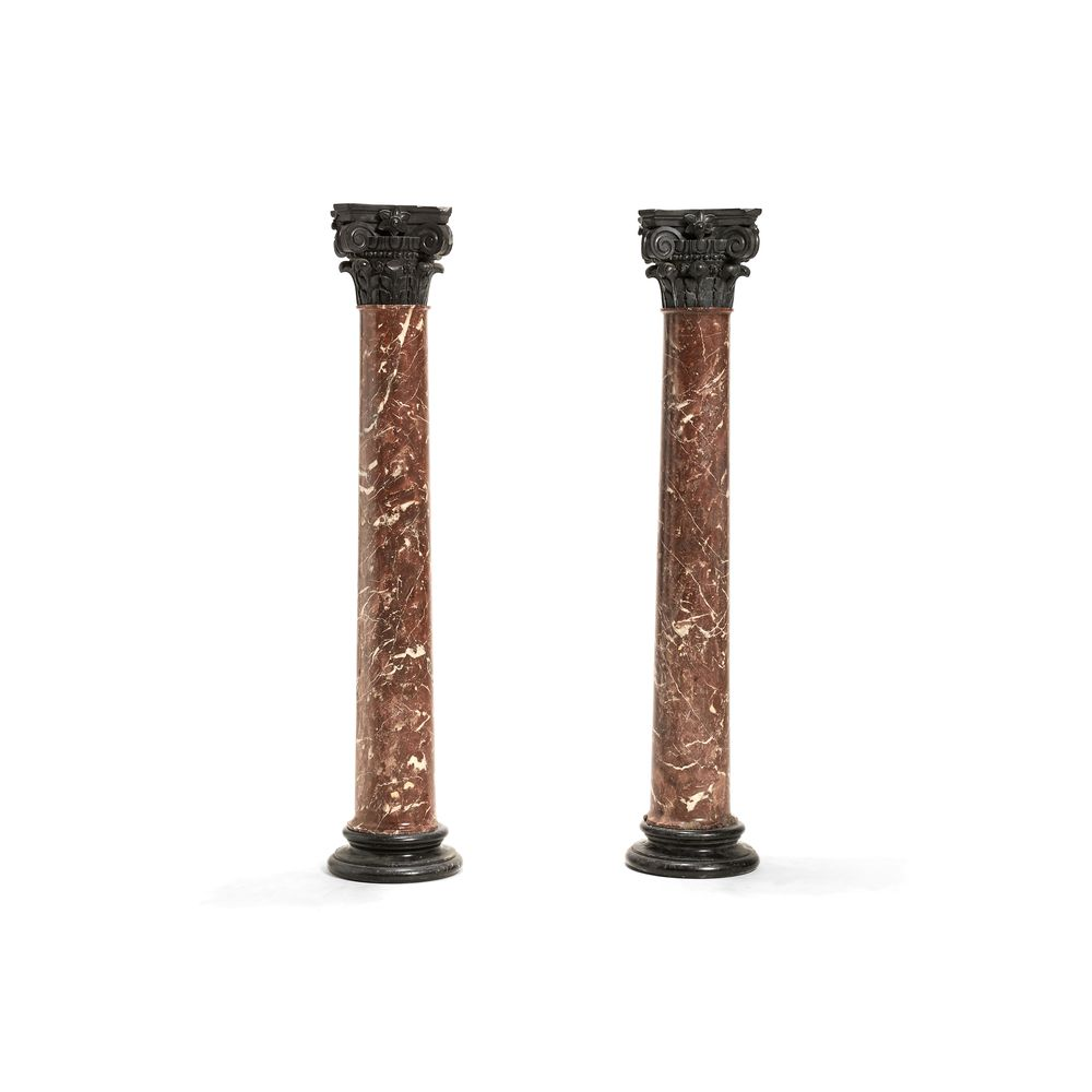 A pair of Continental Belge marble columnar pedestals, late 19th century