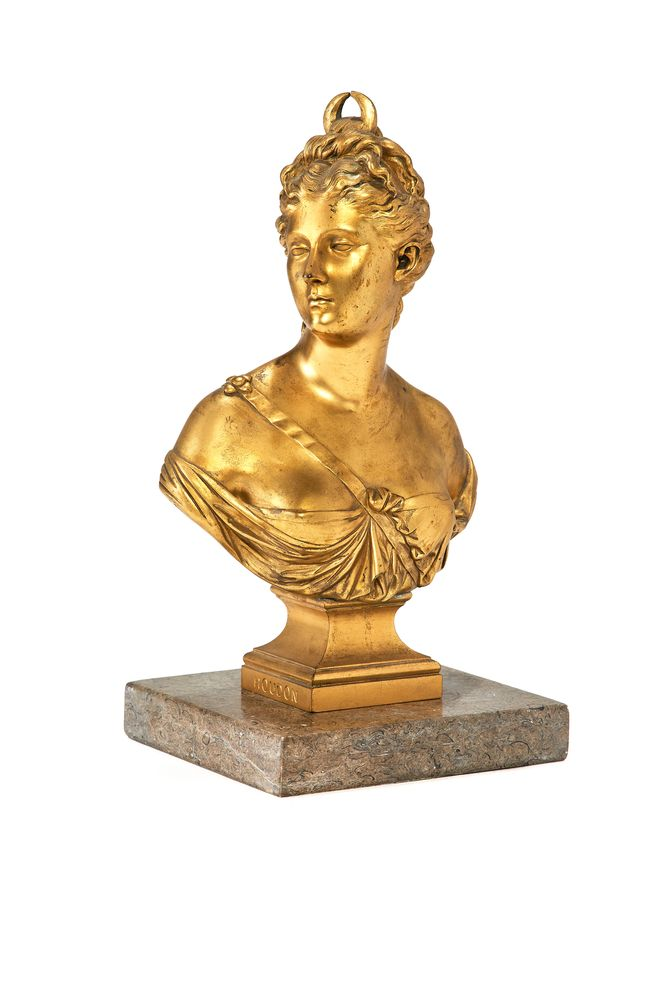 A French gilt bronze bust of Diana the Huntress after Jean-Antoine Houdon (1741-1828)