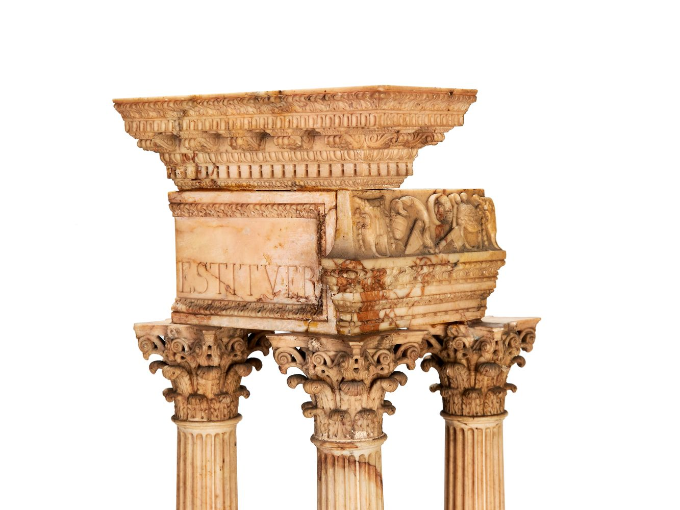 A pair of large Italian marmo giallo Grand Tour souvenir models of Temple of Castor and Pollux and t - Image 5 of 7