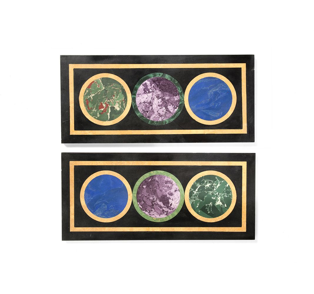Two scagliola panels, 20th century
