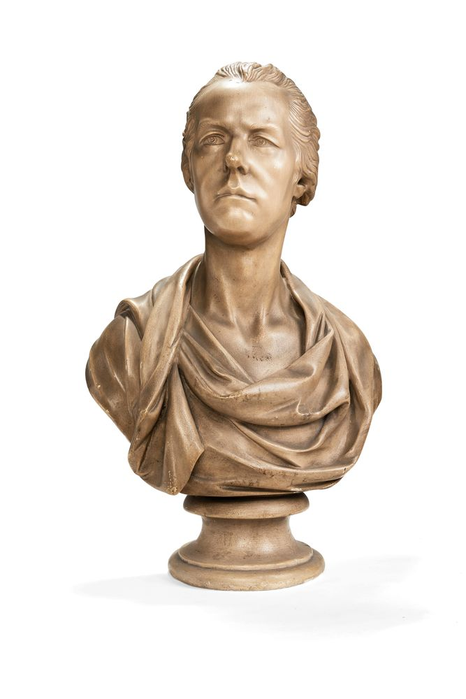 A painted plaster bust of William Pitt the Younger after Joseph Nollekens (British 1737-1823)