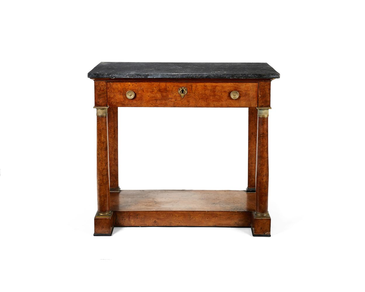 A French Empire burr elm marble topped pier table