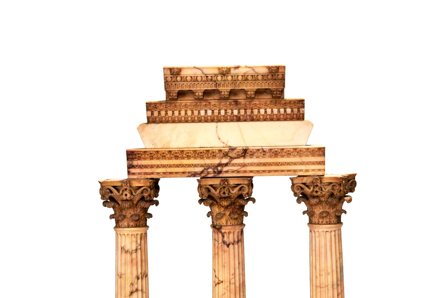 A pair of large Italian marmo giallo Grand Tour souvenir models of Temple of Castor and Pollux and t - Image 3 of 7