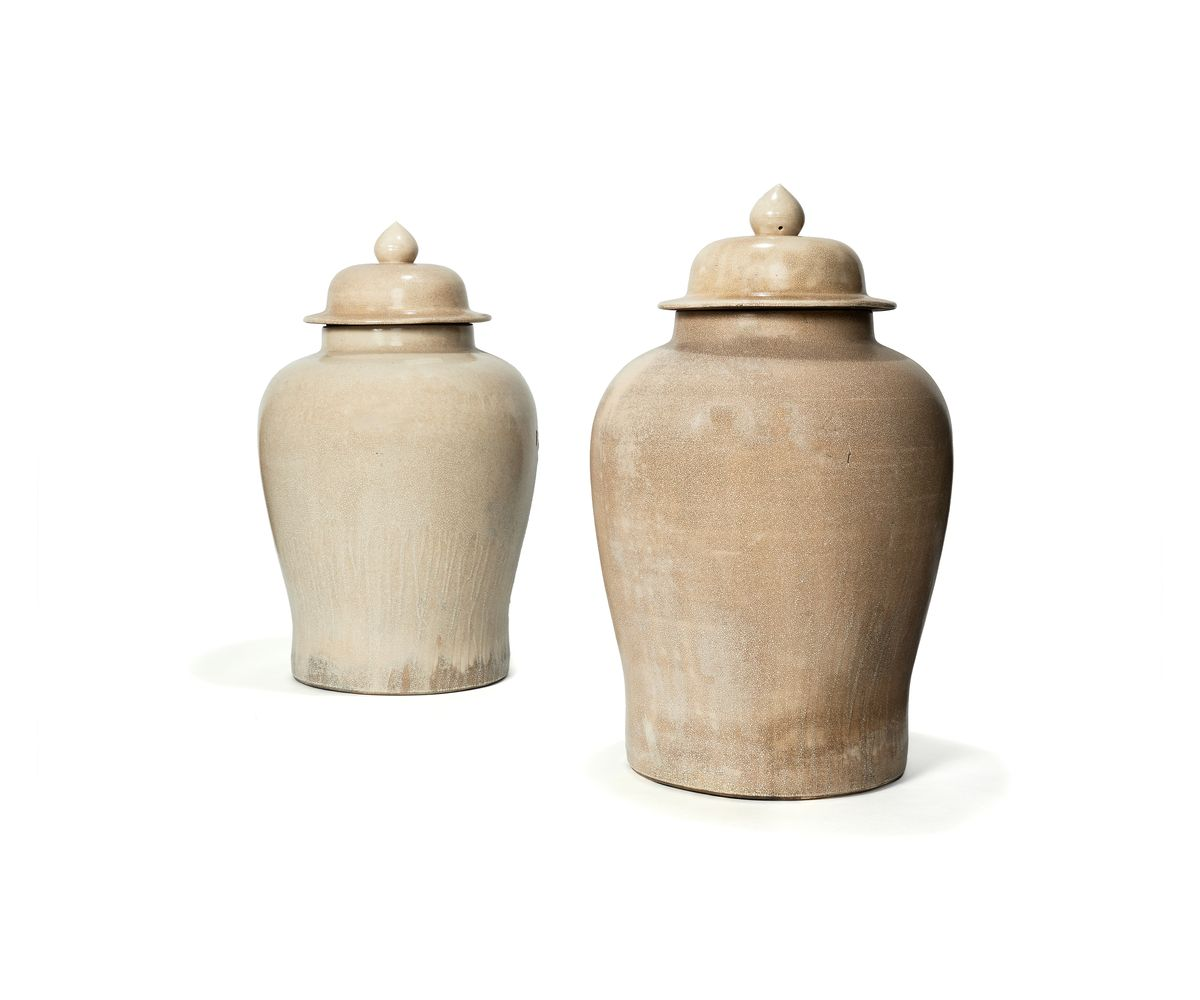 A large pair of crackle-glazed vases and covers, Chinese, 20th century