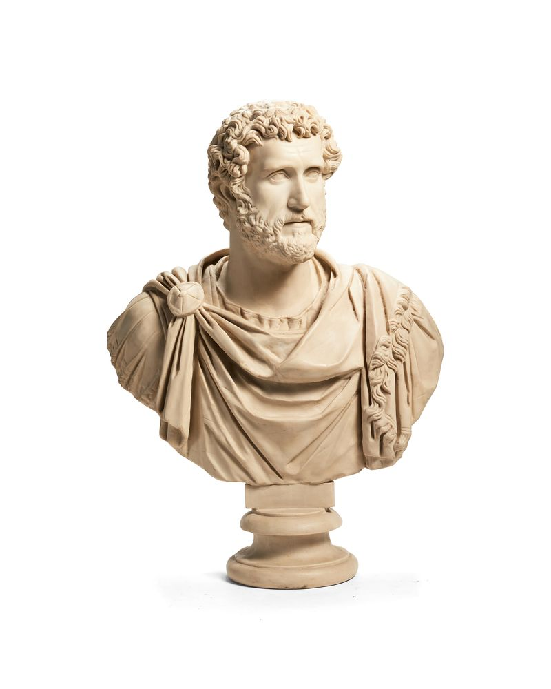A large and impressive simulated marble bust of Emperor Hadrian, late 20th century
