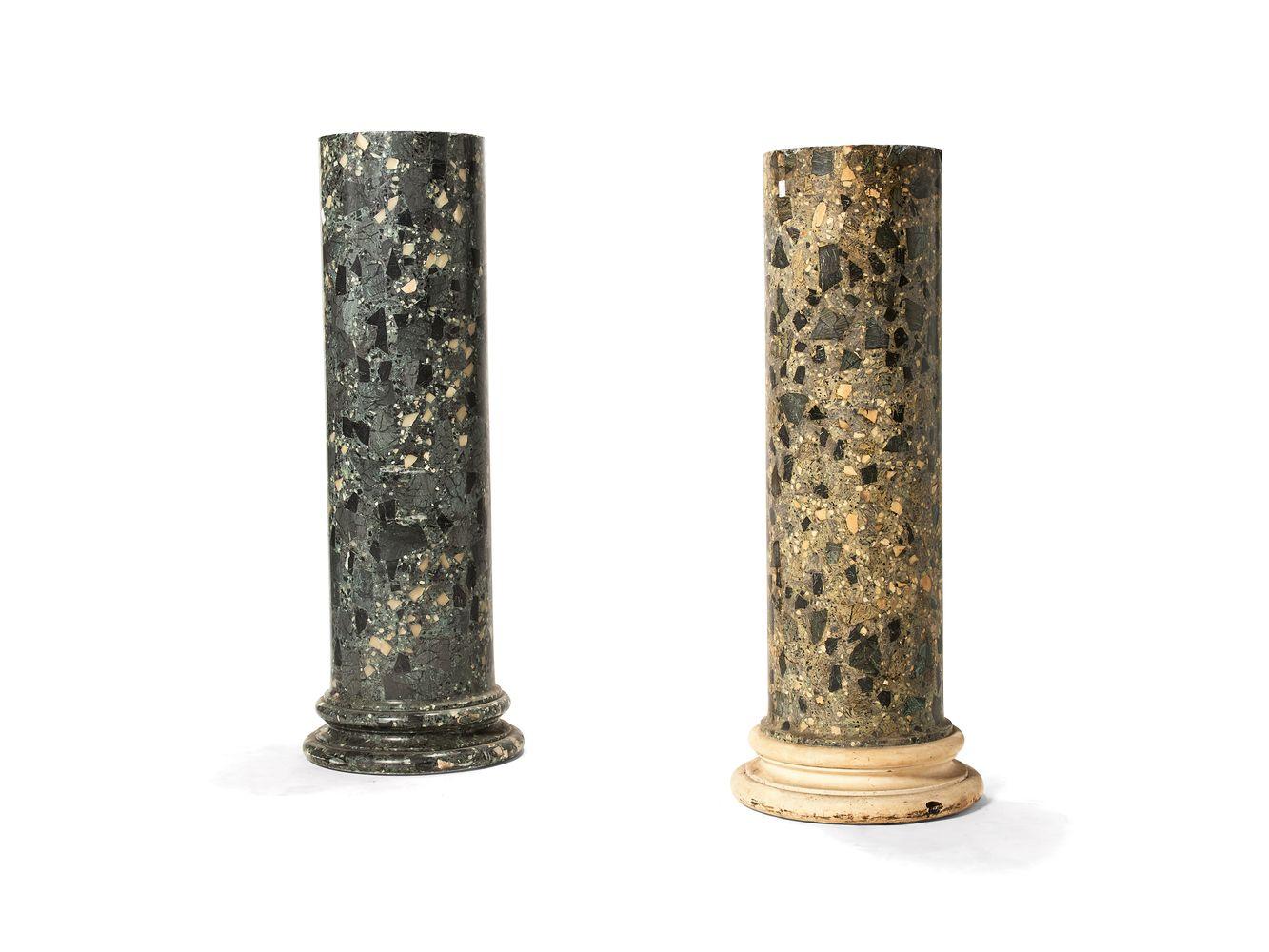 A scagliola columnar pedestal simulating verde antico, 19th century