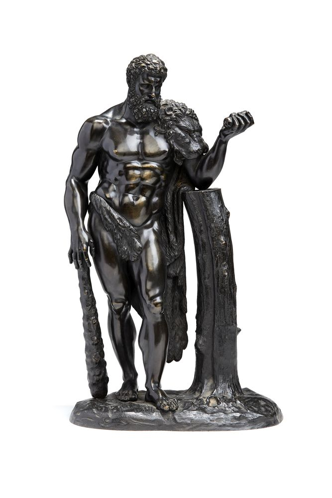 A French or Italian patinated bronze model of Hercules, in the manner of the Hercules Farnese, 19th