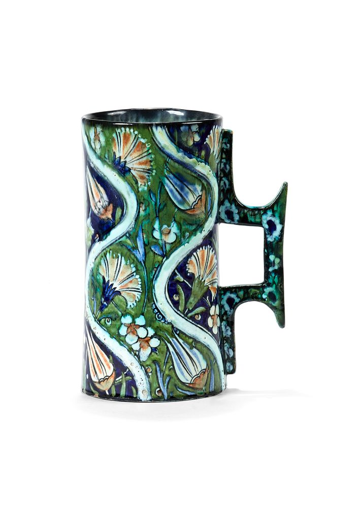A Cantagalli 'Iznik' style mug with bracket handle, late 19th century