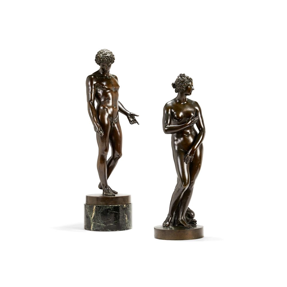 An associated pair of patinated bronze models of the Medici Venus and Capitoline Antinous, third qua