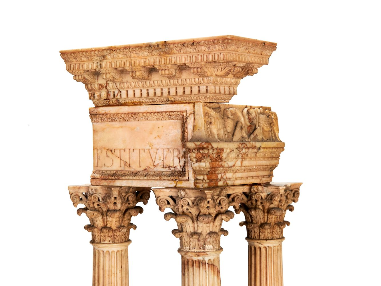 A pair of large Italian marmo giallo Grand Tour souvenir models of Temple of Castor and Pollux and t - Image 6 of 7