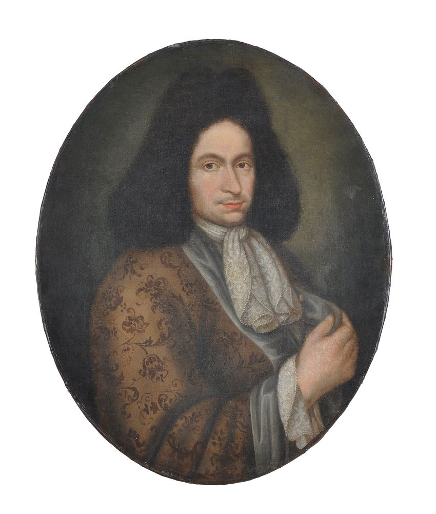North Italian School (17th century) Portrait of a gentleman, half-length, in a pale brown embroidere