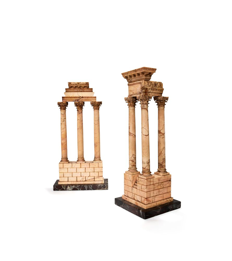 A pair of large Italian marmo giallo Grand Tour souvenir models of Temple of Castor and Pollux and t
