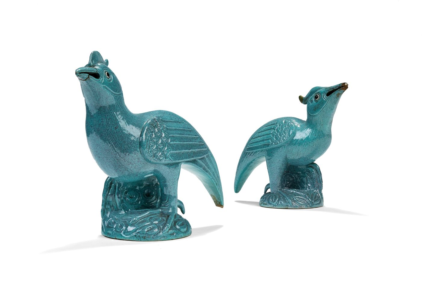A pair of Chinese 'robins egg' glazed models of mythical birds, Qing Dynasty, 19th century