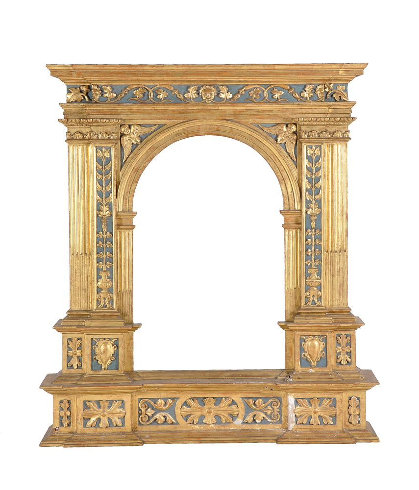 Lot 277A - A Continental, probably Italian, giltwood and painted picture frame oftabernacle type, 19th century