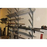 LOT OF RAW MATERIAL: copper pipe, allthread, PVC pipe (on wall rack, in assorted boxes & on floor in