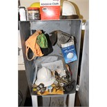 LOT OF WELDING & CUTTING SUPPLIES, including: welding cabinet w/torches, gauges, hard hats,
