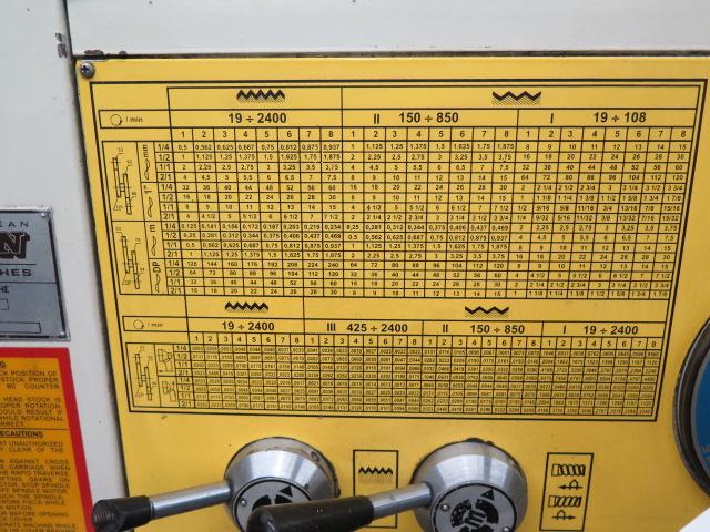 "Lion C11MT 20"" x 46"" Geared Head Gap Bed Lathe s/n 17047 w/ 19-2400 RPM, Taper Attachment, - Image 7 of 16"