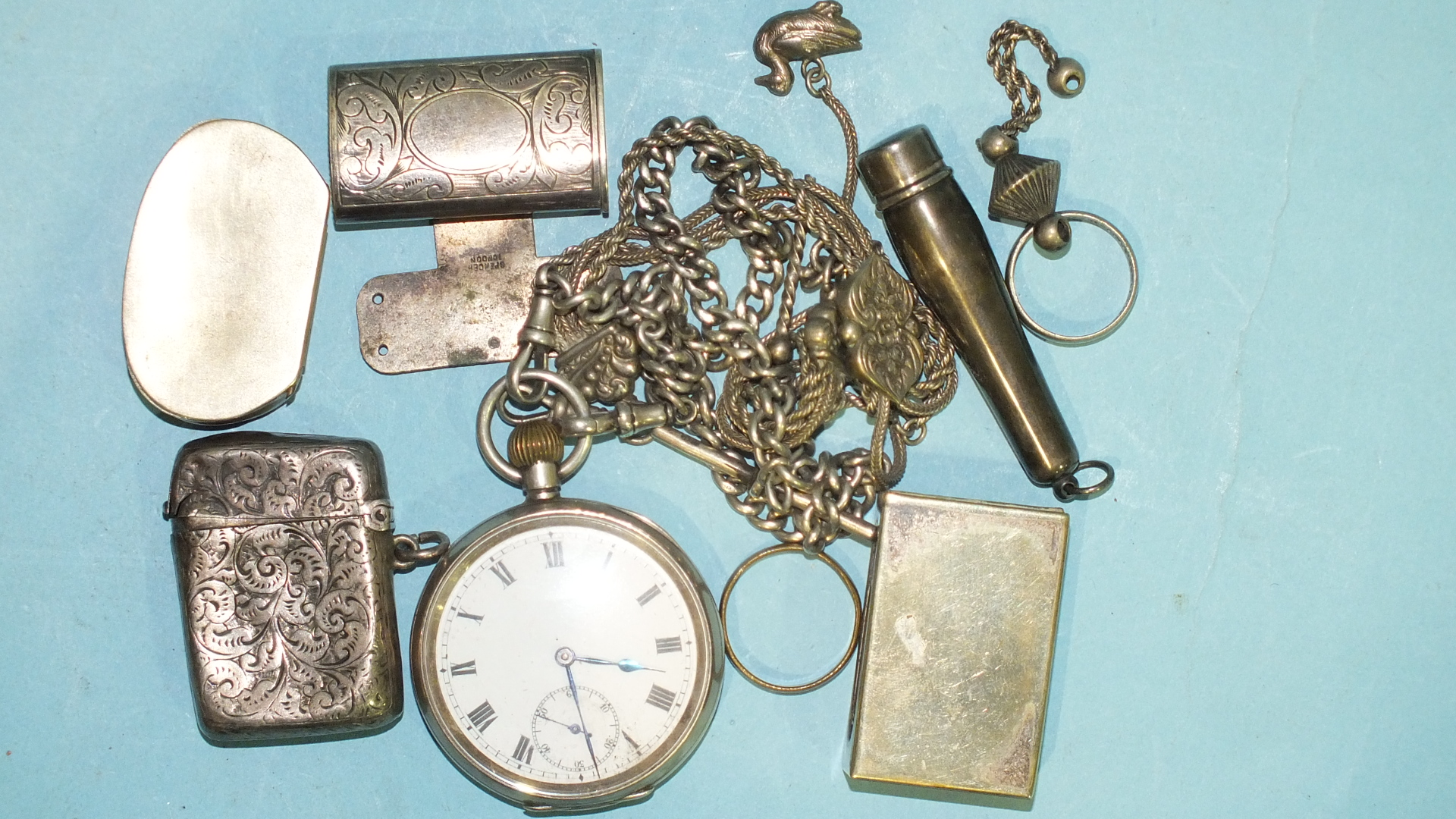 Lot 321 - A silver-cased open-face pocket watch, (not working), on silver curb-link watch chain, a silver