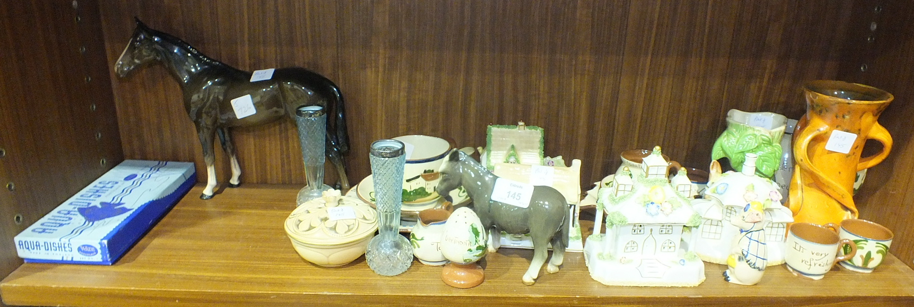 Lot 145 - Two boxed sets, No.1 & 2, of Wade Whimsies, two Wade 'Aqua' dishes, boxed, four Coalport Cottage