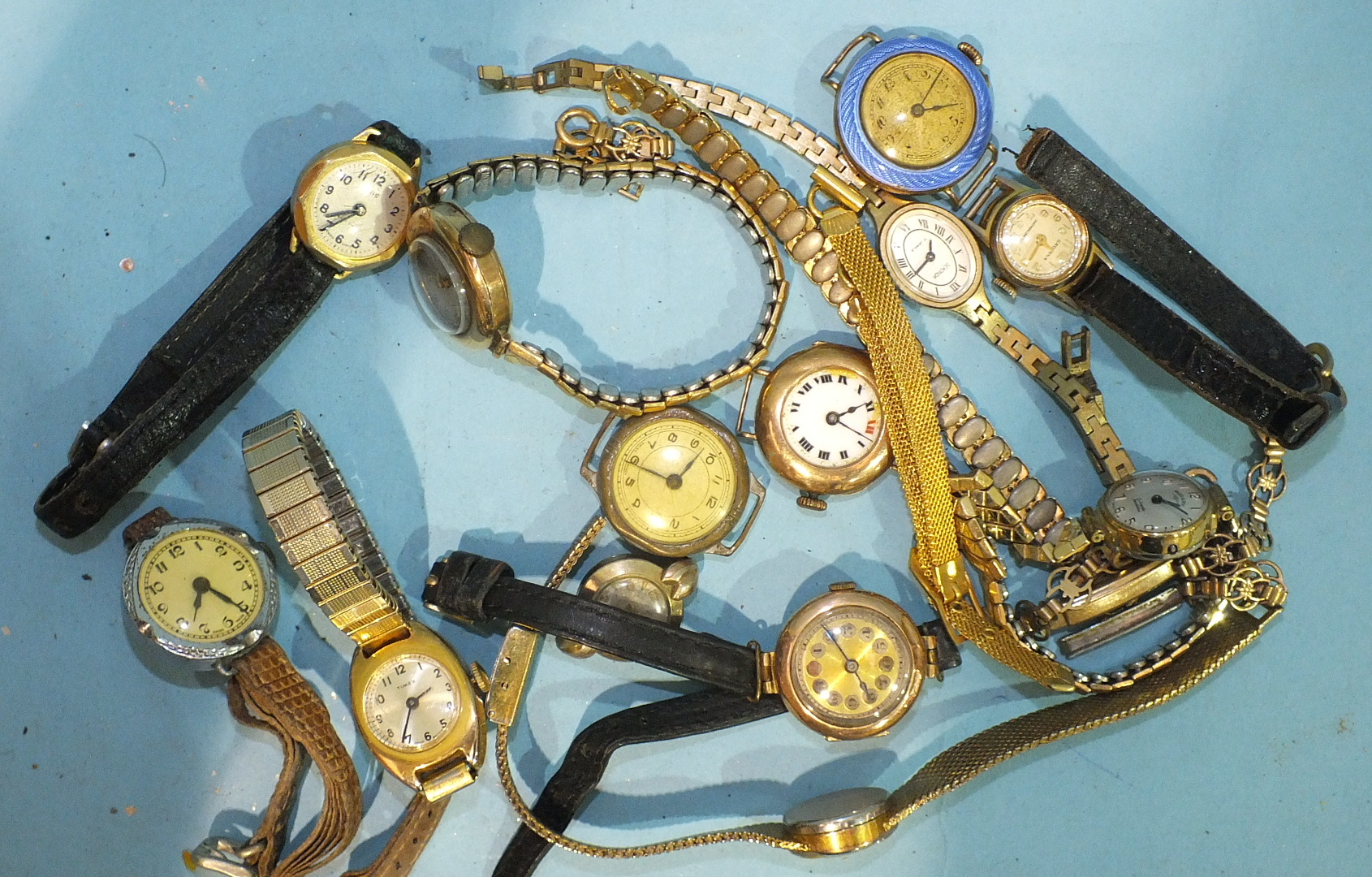 Lot 306 - Three ladies 9ct-gold-cased wrist watches, (a/f) and other wrist watches, (mainly a/f).