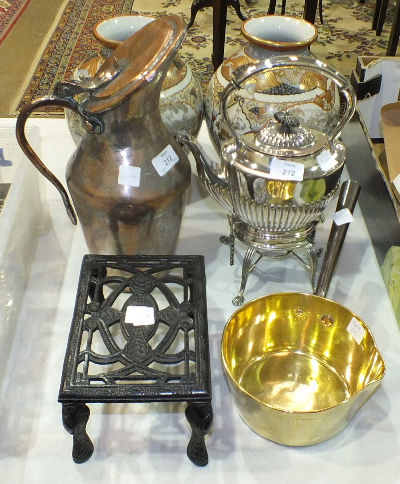 Lot 212 - A plated spirit kettle on stand, a copper-lidded jug and other items.
