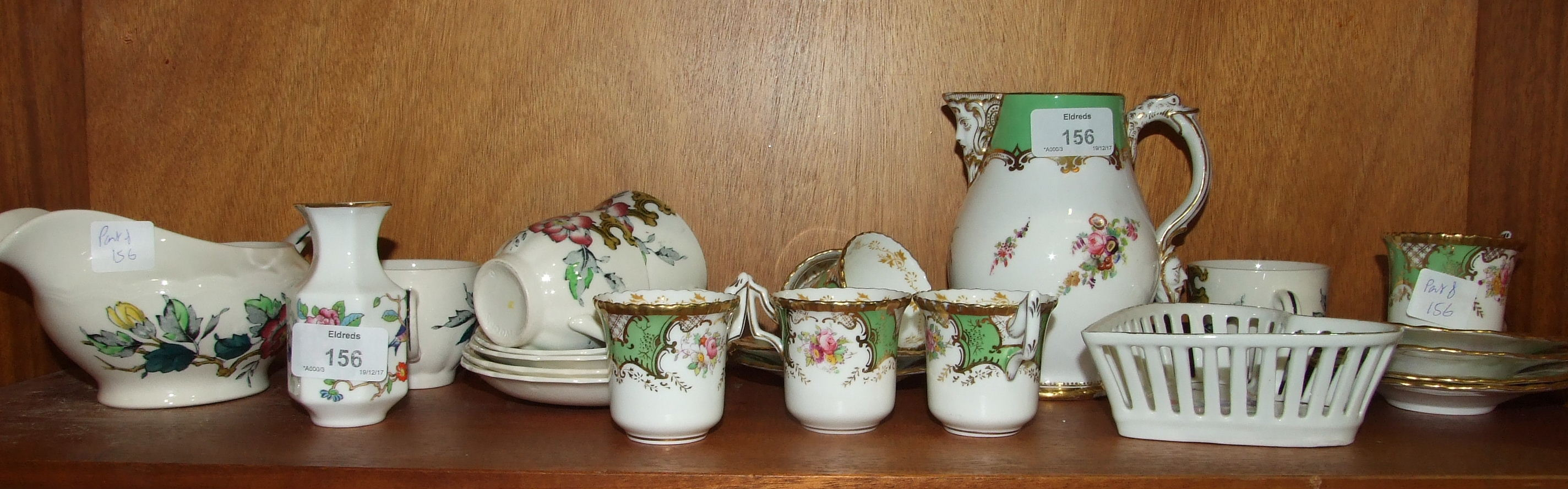 Lot 156 - A Late-Victorian milk jug decorated with gilt, green and floral sprays, 14cm high, six Coalport