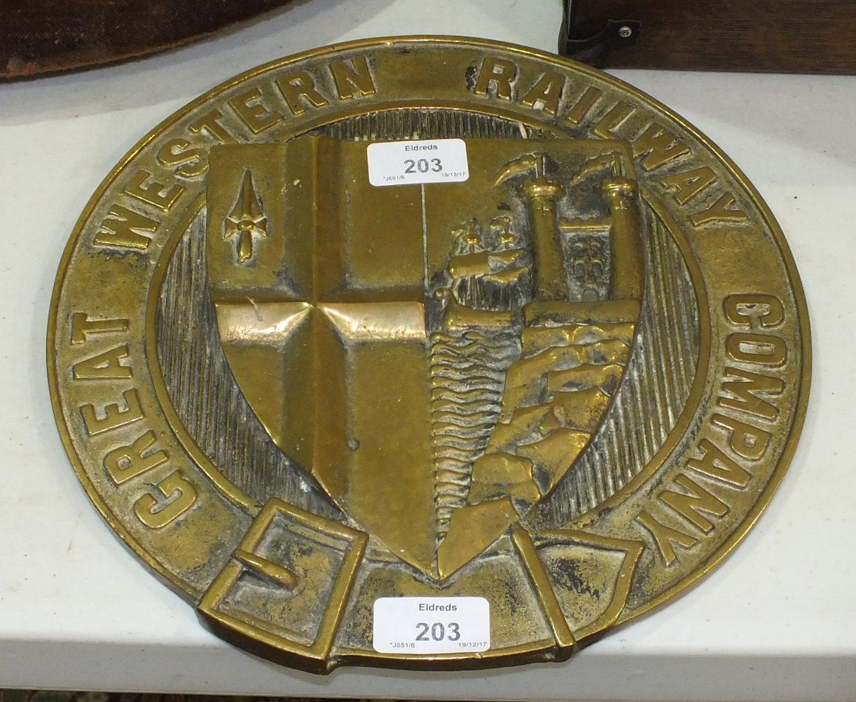 Lot 203 - A circular brass plaque, 'Great Western Railway Company', 28.5cm diameter.
