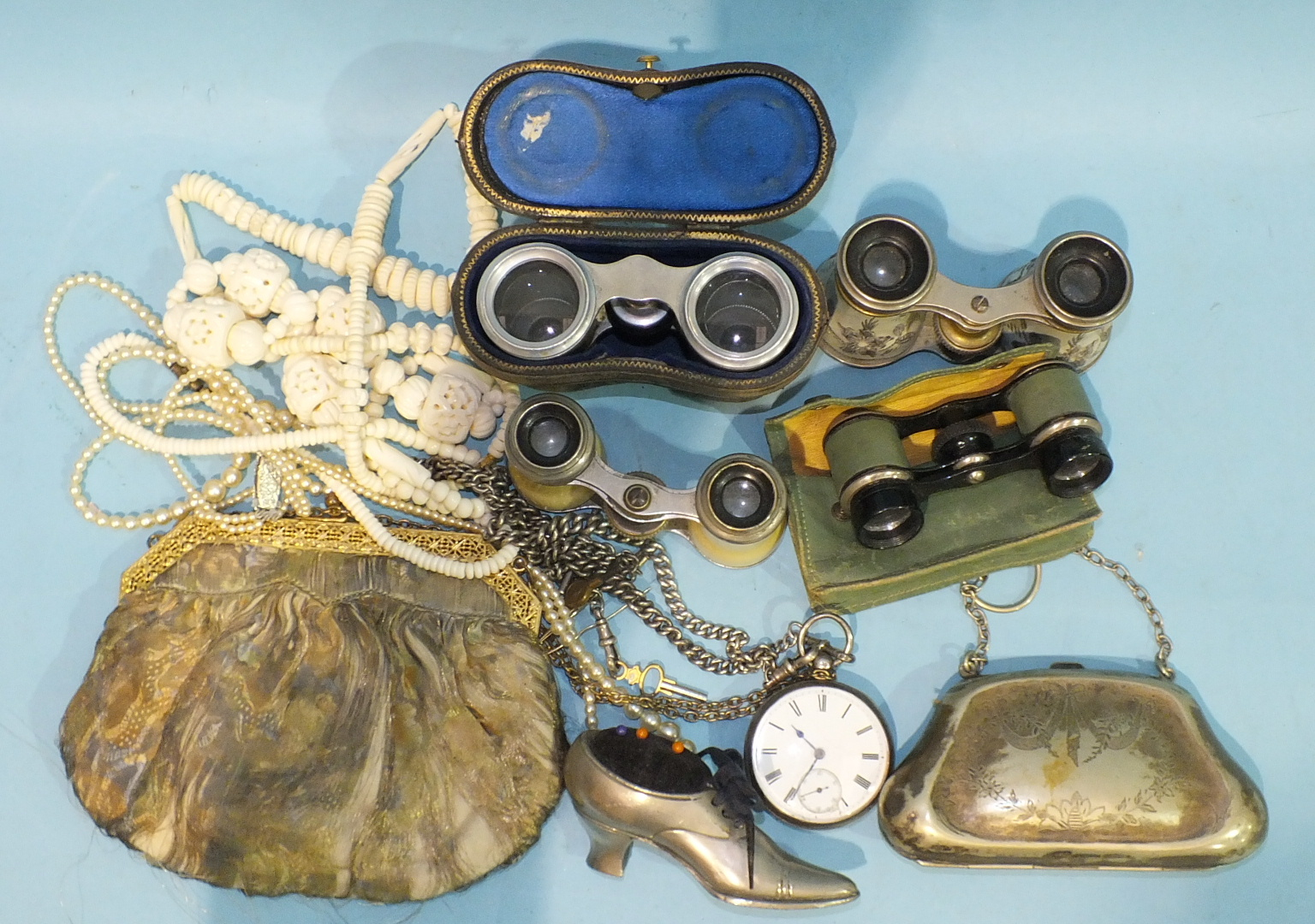 Lot 392 - A silver cased pocket watch (af), two silver Albert watch chains, four pairs of opera glasses, a
