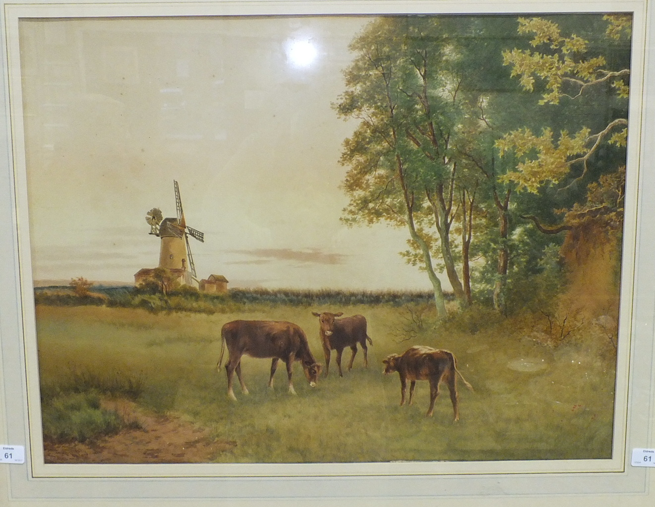Lot 61 - Cattermole Cathrey (Late-19th century), 'Cattle in a landscape with windmill', signed watercolour,