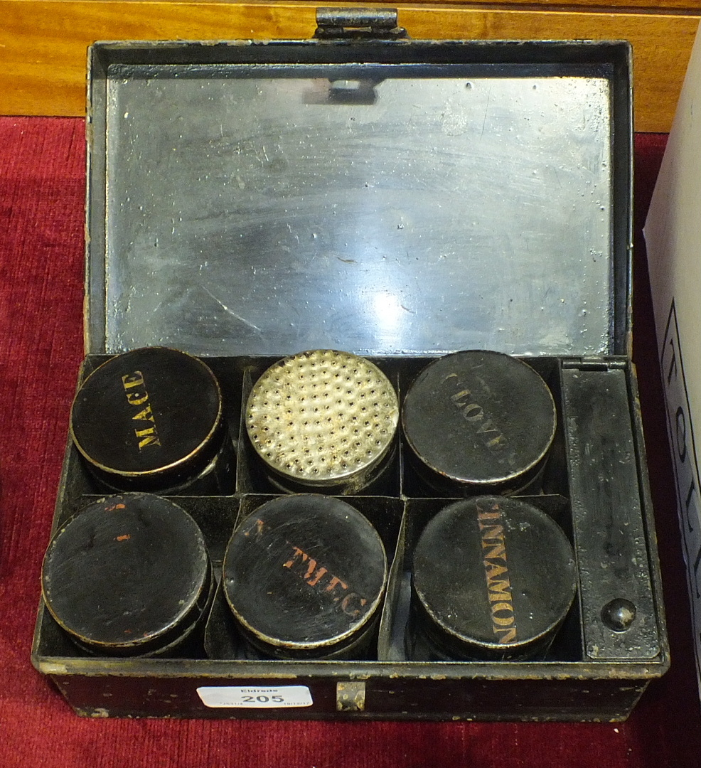Lot 205 - A Japanned metal spice box containing six canisters named 'Allspice', 'Mace', 'Nutmeg', '