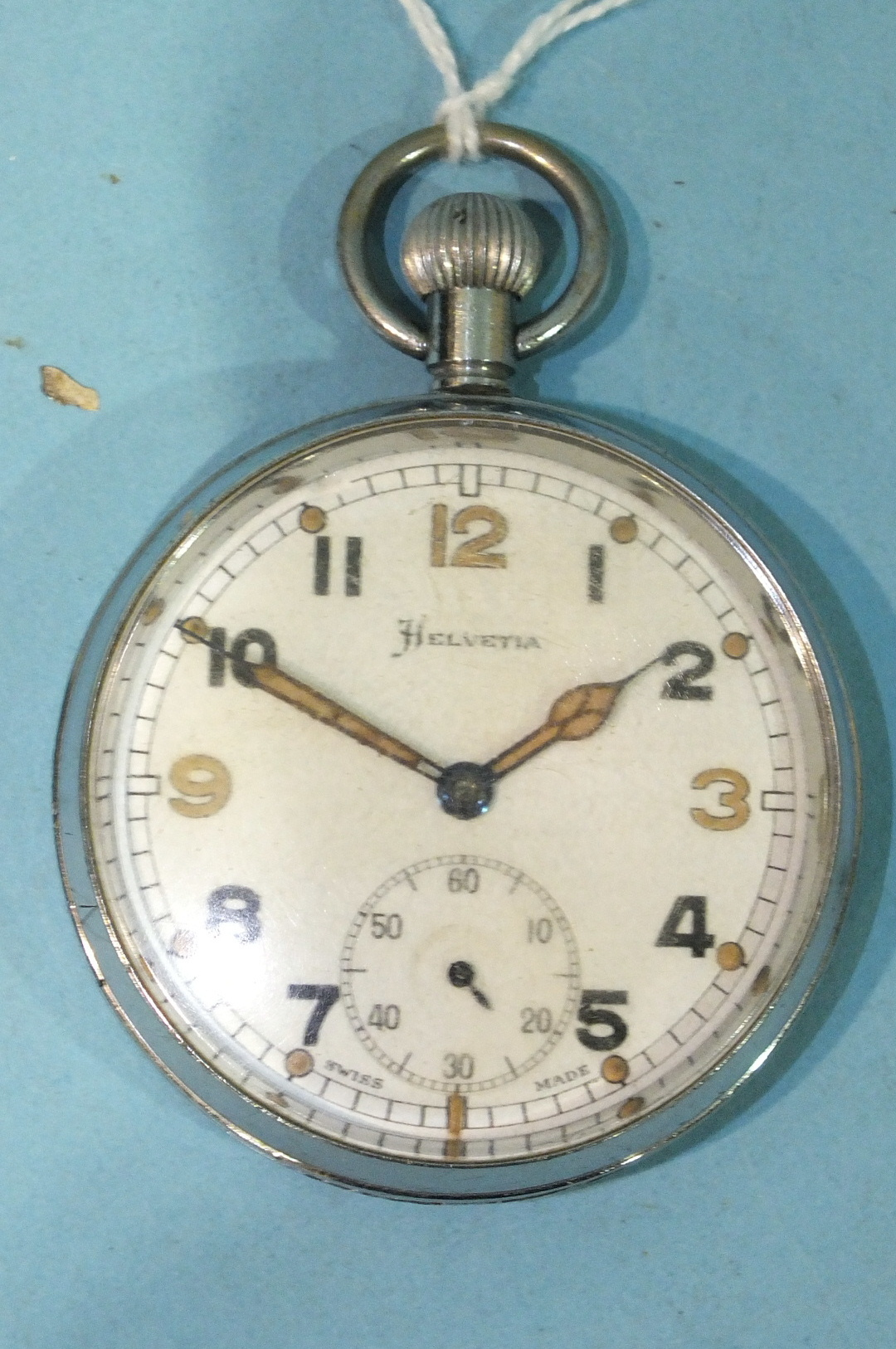 Lot 307 - A Helvetia keyless military pocket watch marked 'GSTP/G 26168'.