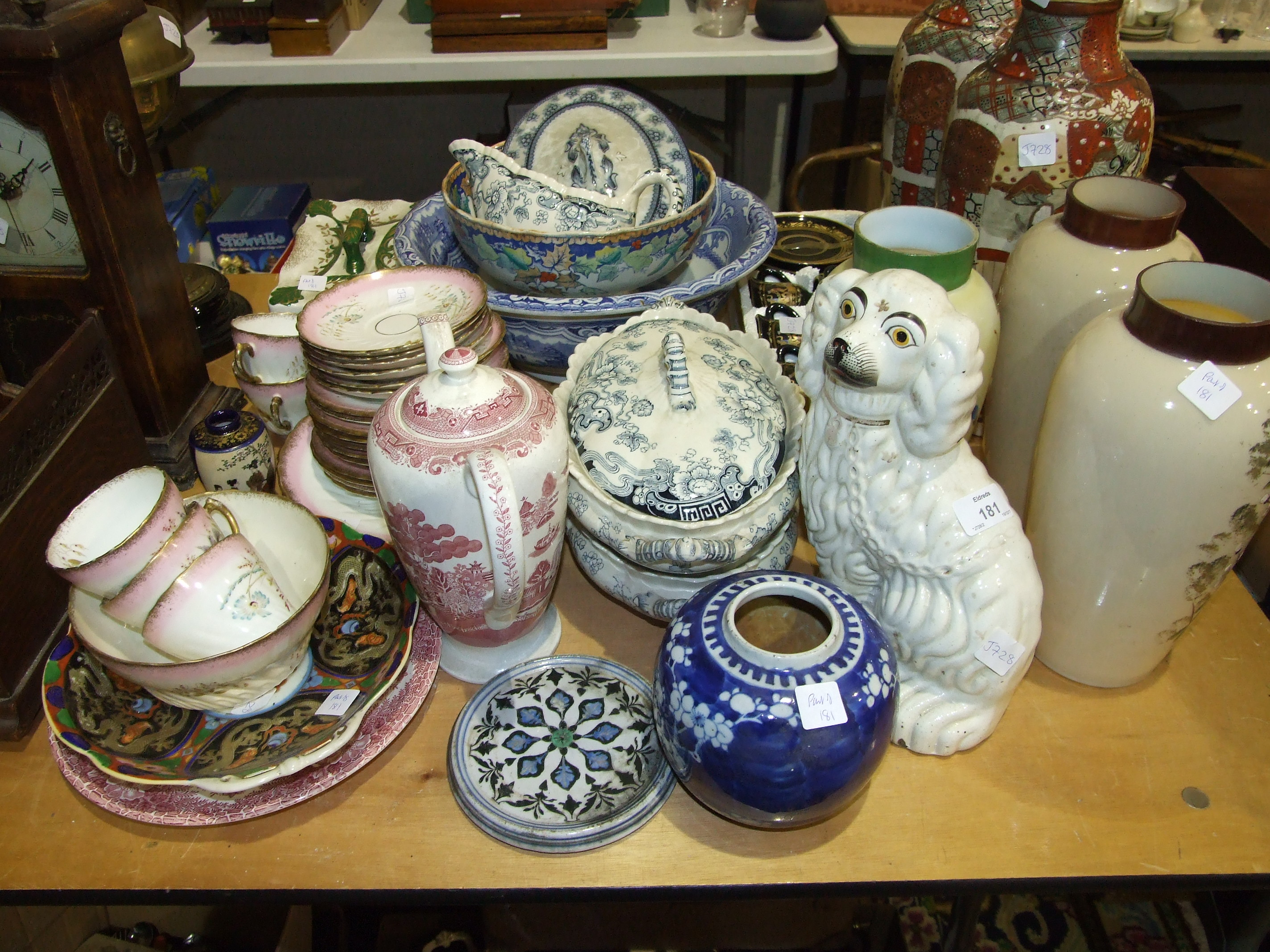 Lot 181 - A 19th century porcelain part-tea service, a Staffordshire dog, various ceramics, glass and