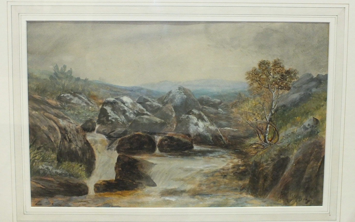 Lot 26 - Style of W Widgery, 'The Moors Nr Chagford', signed watercolour, 31 x 49cm, two other