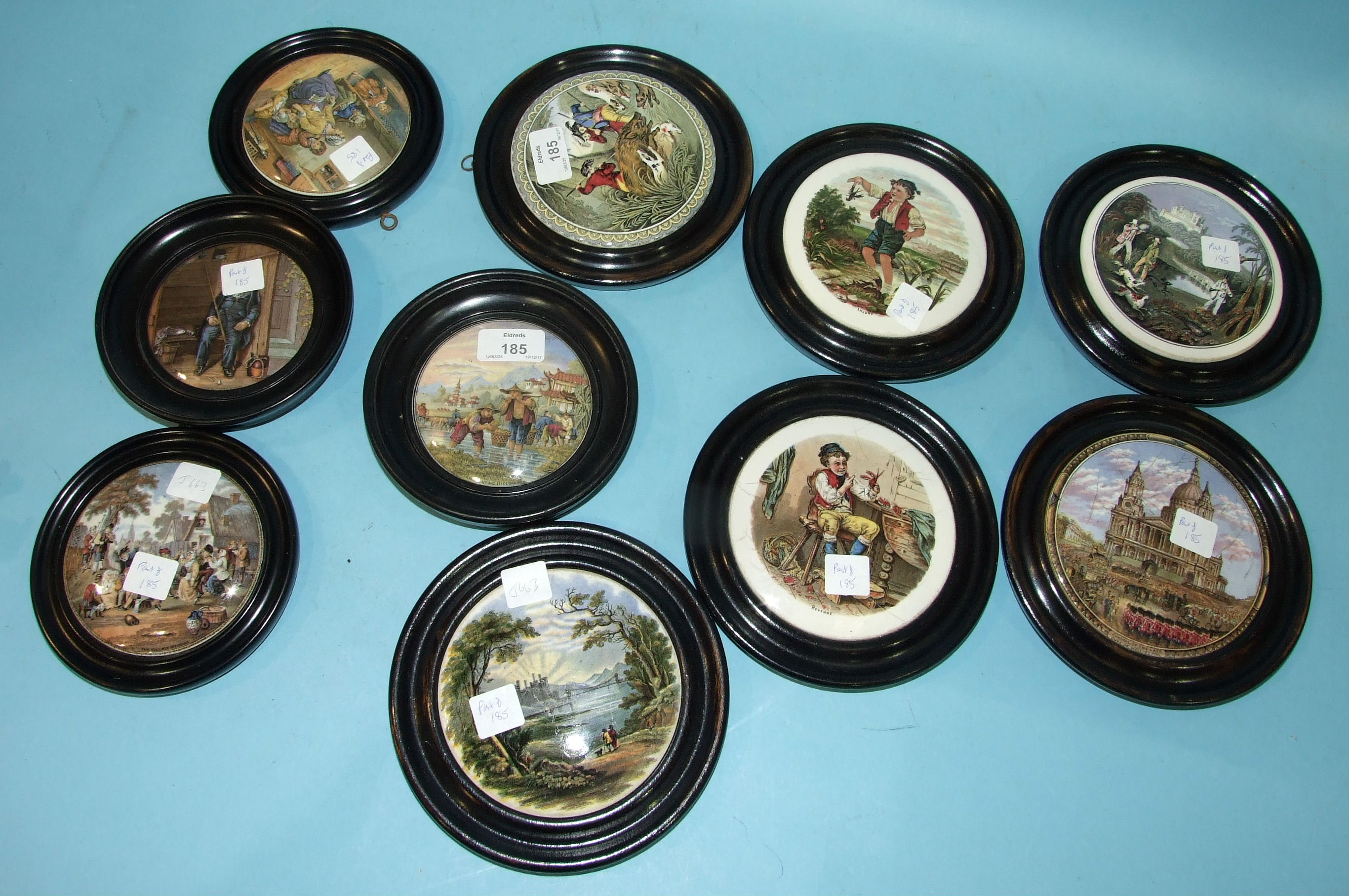 Lot 185 - A collection of ten Prattware pot lids, including 'Funeral of the Late Duke of Wellington' and '