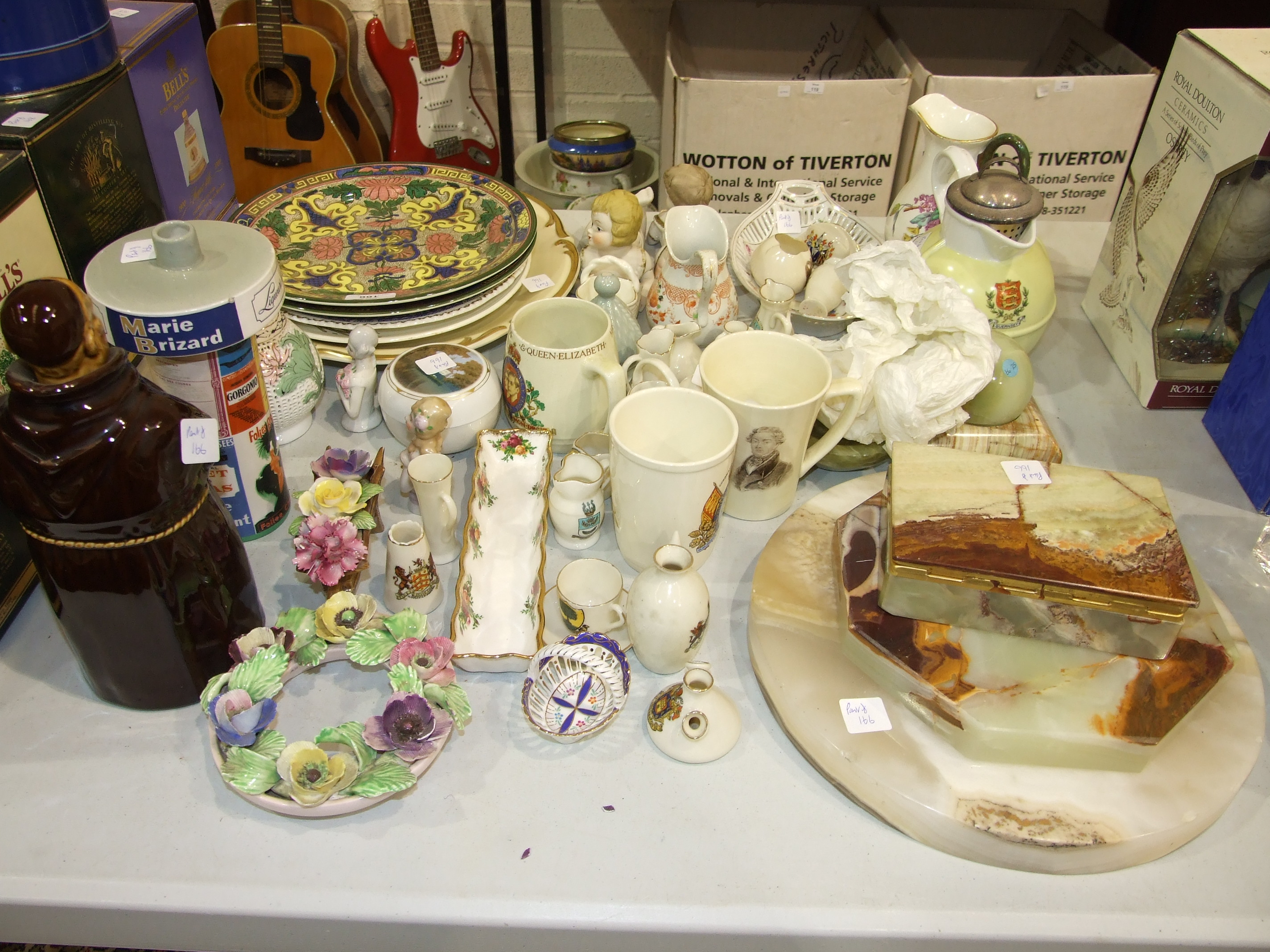 Lot 166 - A collection of miscellaneous ceramics, a blue-glazed plant stand and other items.