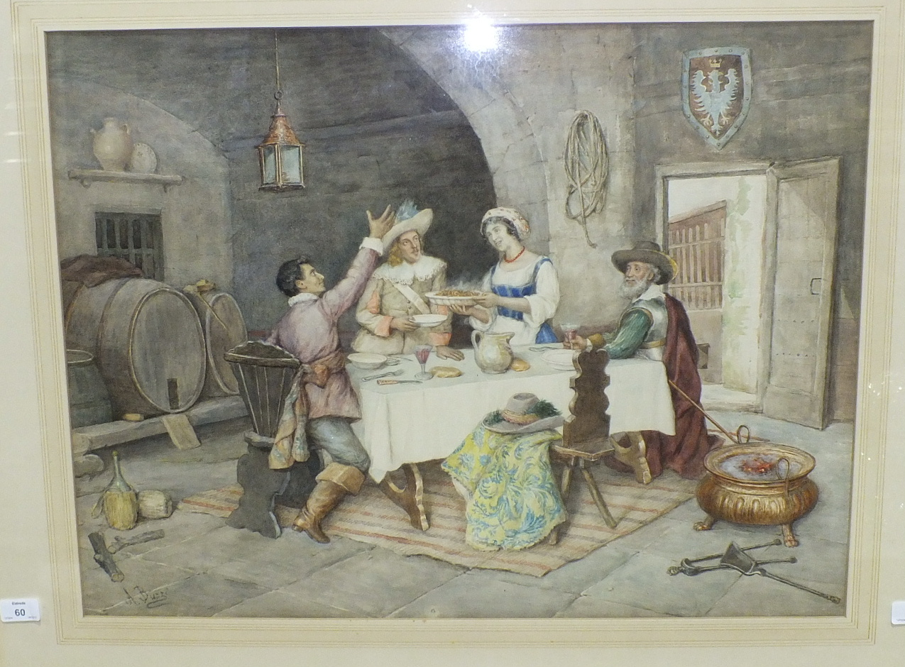 Lot 60 - A Buzzi (19th century Italian), 'Interior scene figures taking food at a table', signed watercolour,