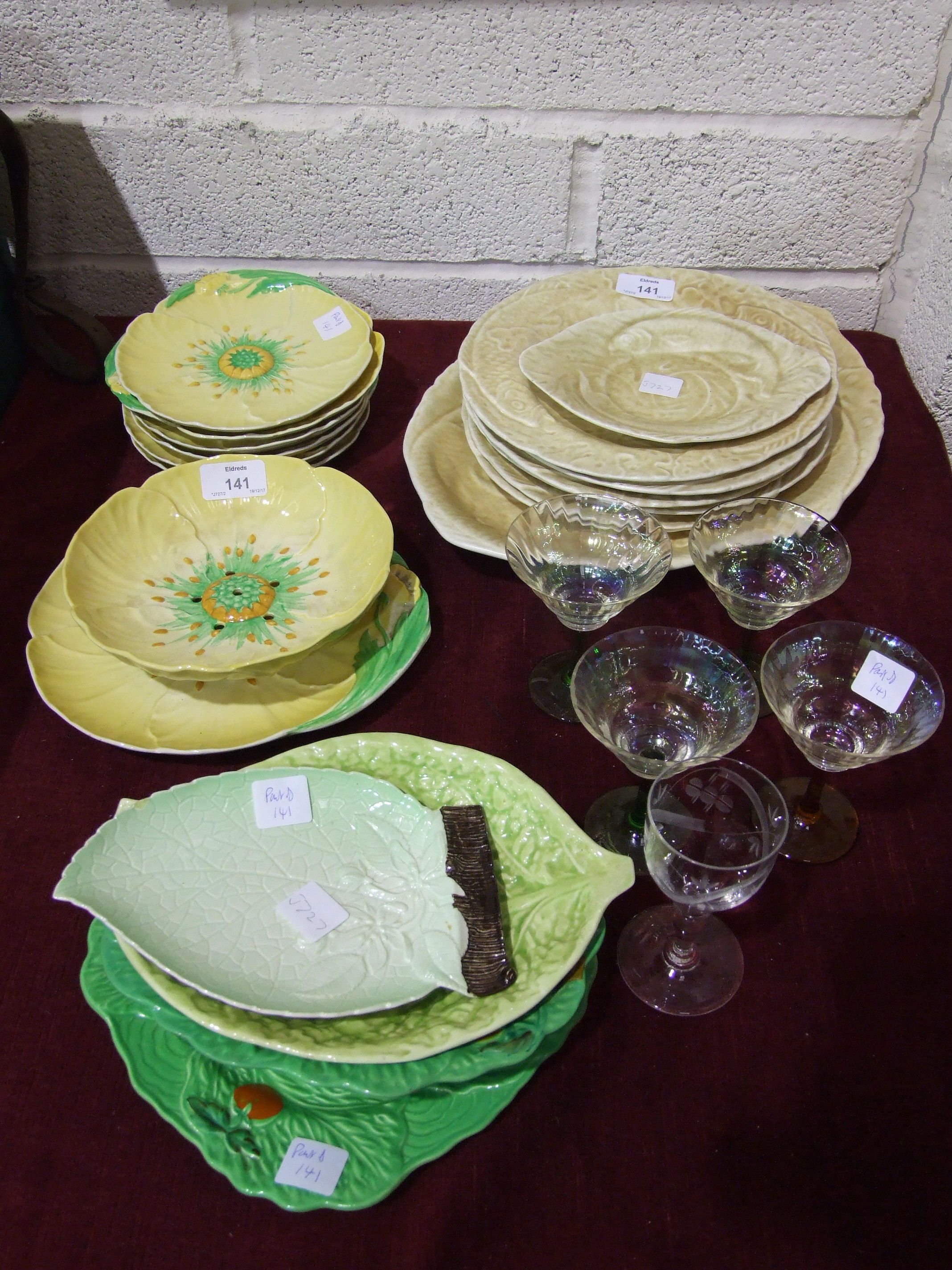Lot 141 - A Carlton Ware floral dessert service, draining bowl on stand and six dishes, other Carlton Ware,