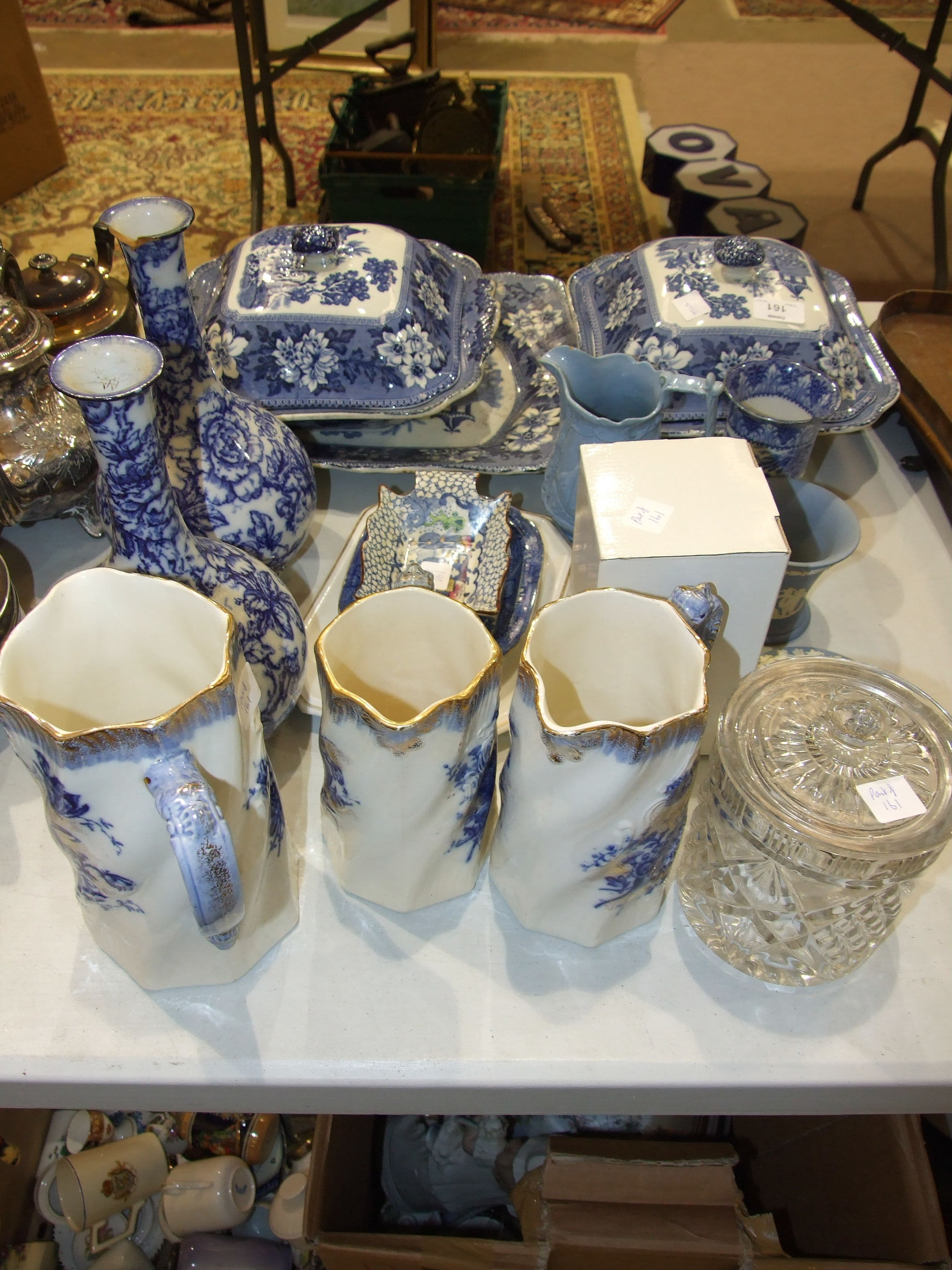 Lot 161 - A pair of blue and white transfer-printed tureens and other ceramics, glass and miscellaneous