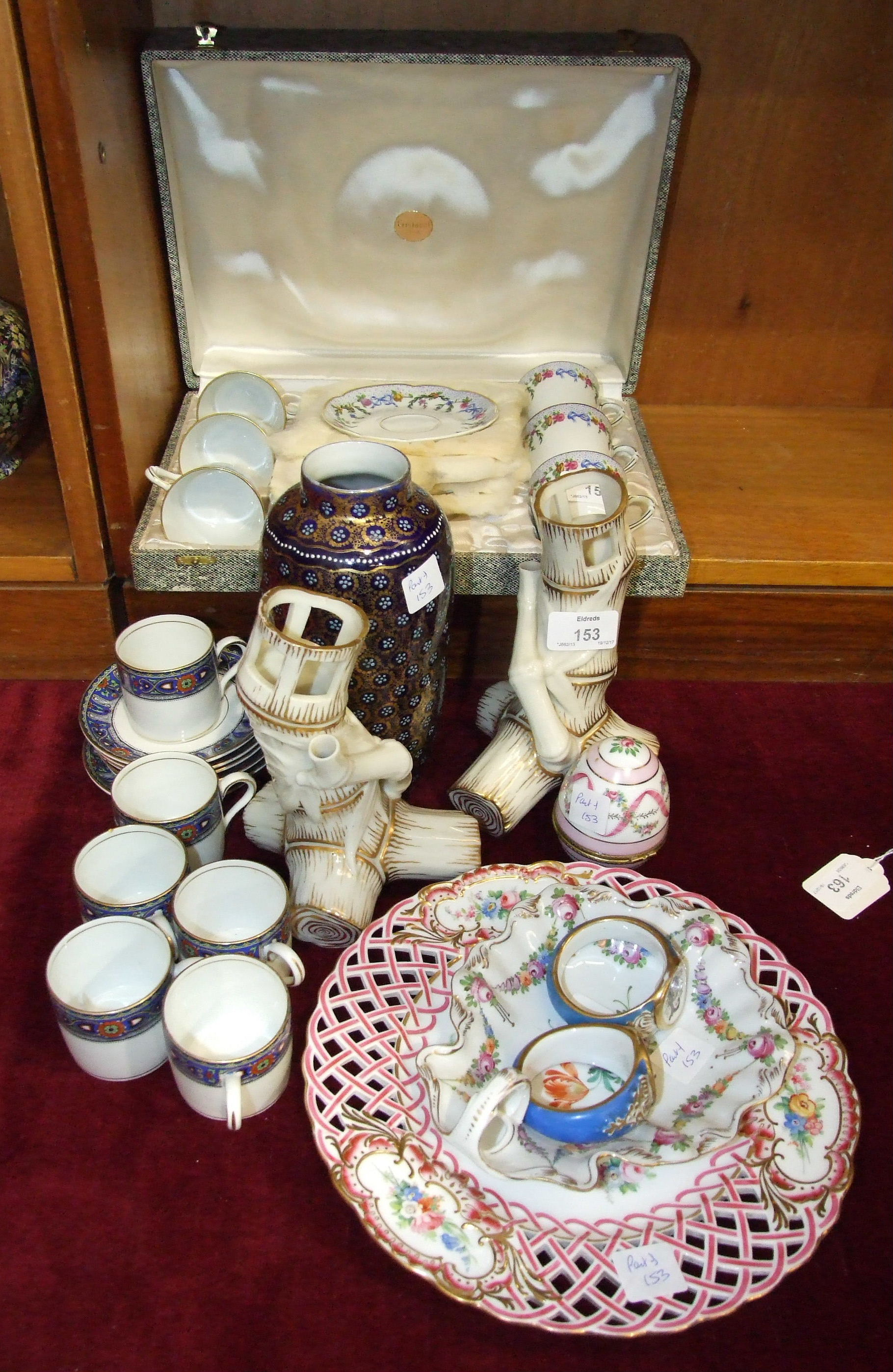 Lot 153 - An L Bernardaud & Co, Limoges 'Lamartine' coffee set of six each cups and saucers, in fitted box,