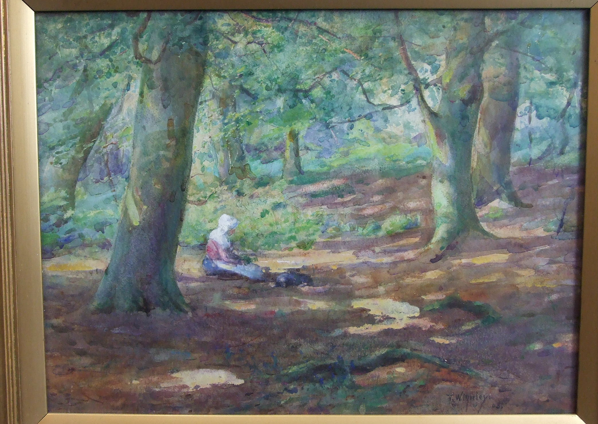 Lot 137 - Thomas William Morley (1859-1925) A WOMAN WEARING A WHITE BONNET, WITH A DOG, IN A WOODLAND GLADE