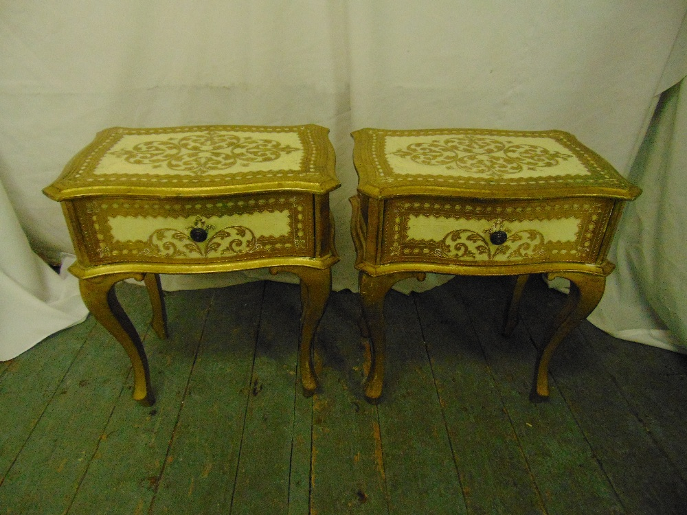 Lot 6 - A pair of Florentine bedside tables, single drawer on four cabriole legs