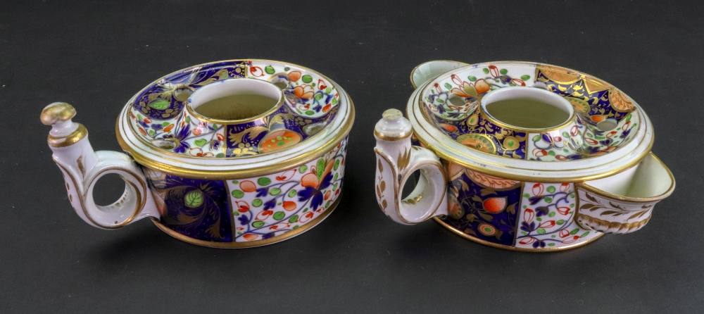 Lot 34 - Two Derby 'Japan' pattern inkwells, circa 1815,