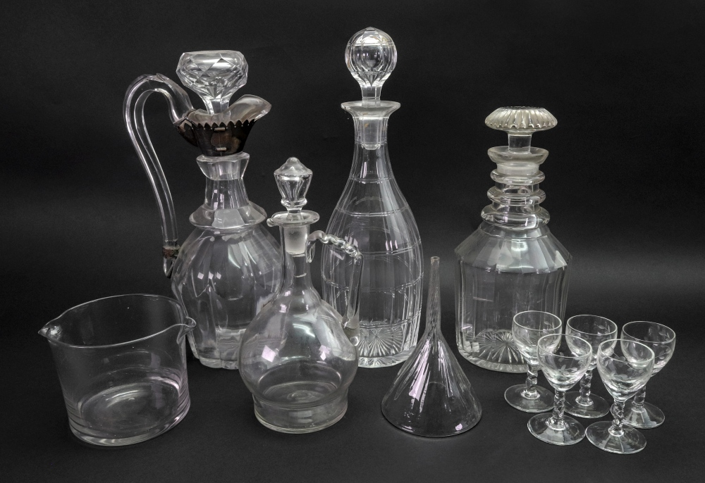 Lot 21 - A George III style facet cut glass decanter, 19th century,