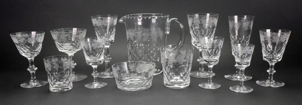 Lot 25 - A suite of Edinburgh facet cut and fruiting vine etched glassware, 122 pieces,