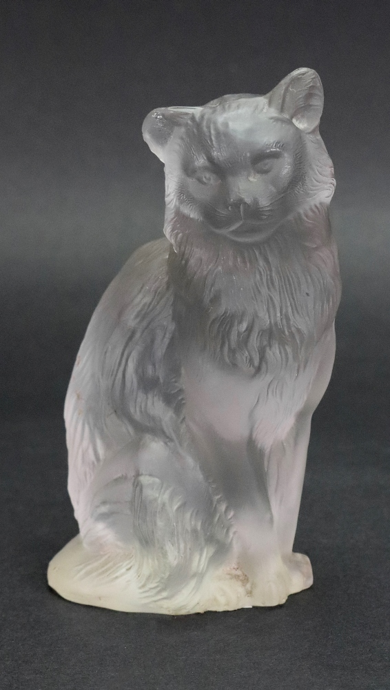 Lot 12 - A French frosted glass figure of a cat, 20th century, 12cm high.